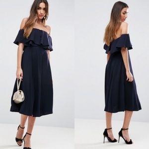 ASOS Soft Off Shoulder Bardot Prom Midi Dress Ruff